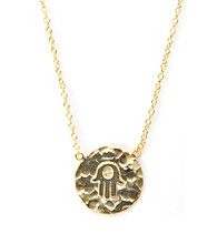 Cellini Gold Over Sterling Hammered Disc Hand Of Hamsa Pendant