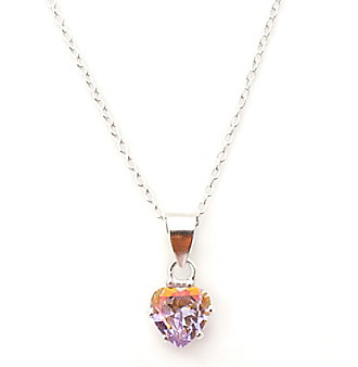 Cellini Medium Shimmer Pink Heart Cubic Zirconia Pendant