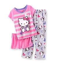 Hello Kitty® Girls' 4-10 Pink/Grey 3-pc. Adorable Striped Pajama Set