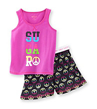 Sugar Sweet Girls' 5-16 Purple/Black Peace Pajama Set