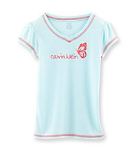 Calvin Klein Girls' 5-16 Turquoise Butterfly Logo Sleep Tee