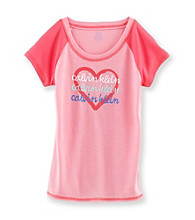Calvin Klein Girls' 5-16 Pink Heart Logo Sleep Tee
