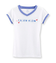 Calvin Klein Girls' 5-16 White/Purple Logo Sleep Tee
