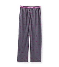 Calvin Klein Boys' 5-16 Grey/Purple Varsity Print Pajama Pants