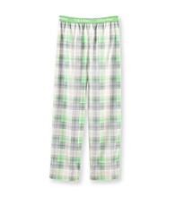 Calvin Klein Boys' 5-16 Green/Grey Plaid Print Pajama Pants