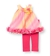 Rare Editions® Baby Girls' Fuchsia/Orange Floral Ruffle Leggings Set