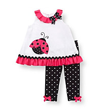 Rare Editions® Baby Girls' Pink/Black Ladybug Leggings Set