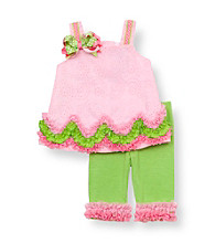 Rare Editions® Baby Girls' Pink/Green Eyelet Ruched Set