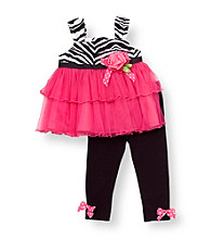 Rare Editions® Baby Girls' Pink/Black Zebra Leggings Set