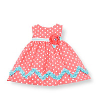 Rare Editions® Baby Girls' Coral Polka-Dot Zigzag Ruffle Dress