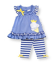 Rare Editions® Baby Girls' Blue Striped Ice Cream Leggings Set
