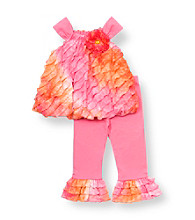 Rare Editions® Baby Girls' Pink/Orange Ruffle Leggings Set