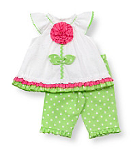 Rare Editions® Baby Girls' White/Green Flower Polka-Dot Leggings Set