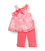 Rare Editions® Baby Girls' Pink Cheetah Print Bubble Leggings Set
