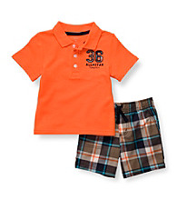 Carter's® Baby Boys' Orange Plaid 2-pc. Polo Shorts Set