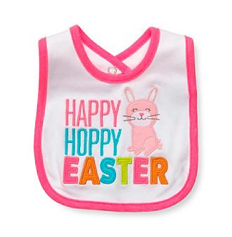"Carter's® Baby  Girls' White/Pink ""Happy Hoppy Easter"" Bib"