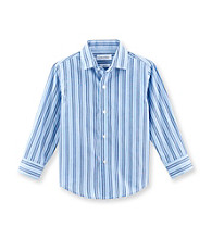 Calvin Klein Boys' 4-20 Blue Striped Long Sleeve Woven