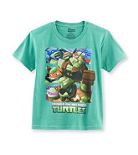 Nickelodeon® Boys' 4-7 Green Short Sleeve Teenage Mutant Ninja Turtles Tee