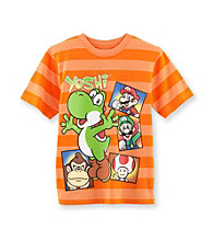Super Mario Bros. Boys' 4-7 Orange Striped Short Sleeve Mario Tee