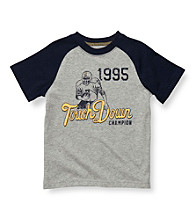 Carter's® Boys' 2T-7 Navy/Grey Short Sleeve Touchdown Raglan Tee