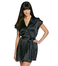 Linea Donatella® Ruffled Satin Wrap Robe - Black