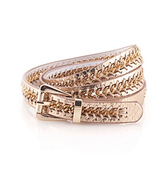 Nine West® Rosegold Reversible Snake Laced Chain Belt