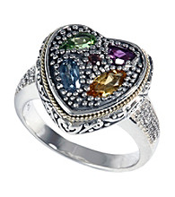 Effy® Sterling Silver Diamond and Semi-Precious Ring
