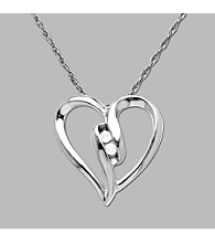 Diamond Heart 10K White Gold Pendant Necklace