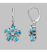 Created Opal and Blue Topaz Earrings