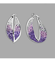 Impressions® Sterling Silver and Purple Crystal Earrings