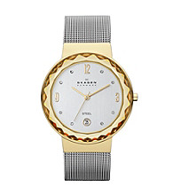 Skagen Denmark Women's Steel Mesh Silvertone & Goldtone Watch