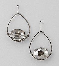 BT-Jeweled Hematite/Black Diamond Open Work Teardrop Earrings