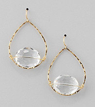 BT-Jeweled Goldtone/Crystal Open Work Teardrop Earrings