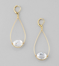 BT-Jeweled Goldtone/Crystal Open Work Euro Wire Teardrop Earrings