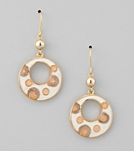 Studio Works® Peach/Goldtone Dot Pendant Drop Earrings