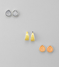 Studio Works® Silvertone Enamel Trio Earrings