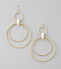 GUESS Goldtone Nautical Hoop Drop Earrings