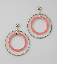 GUESS Coral And Goldtone Double Ring Hoop Earrings