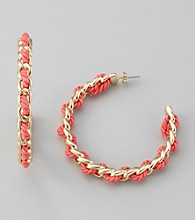 GUESS Coral Rope Goldtone Hoop Earrings