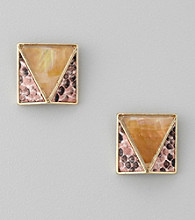 GUESS Goldtone Button Earrings