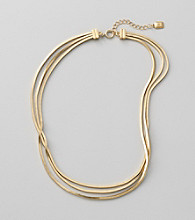 Lauren Ralph Lauren Three Row Square Matte 14K Gold Plated Snake Chain Necklace