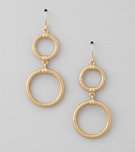 Lauren Ralph Lauren Matte 14K Gold Plated Chain Link Double Drop Earrings