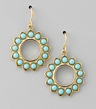 Lauren Ralph Lauren Turquoise/Gold Small Multi Bead Cluster Earrings