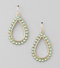 Lauren Ralph Lauren Turquoise 14K Gold Plated Teardrop Cabachon Earrings
