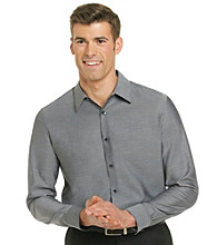 Calvin Klein Men's Black Long Sleeve Woven Chambray Dress Shirt