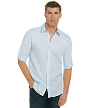 Calvin Klein Men's Cashmere Blue Long Sleeve Woven Herringbone Shirt