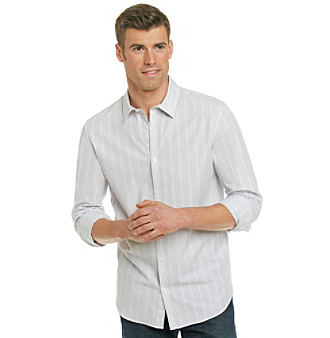 Calvin Klein Men's White Short Sleeve Striped Dobby Shirt