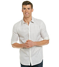 Calvin Klein Men's Outerspace Long Sleeve Double Weave Button Down Shirt