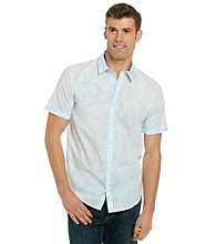 Calvin Klein Men's Cashmere Blue Short Sleeve Floral Poplin Button Down Shirt