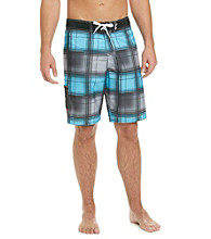 Mambo® Men's Black/Blue Plaid Side Pocket Board Short